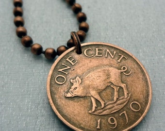 Coin Jewelry - Little PIG COIN NECKLACE, Bermuda - piglet - wild boar - Year of the Pig - vintage copper coin