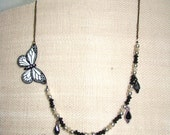 Necklace / Black White Butterfly