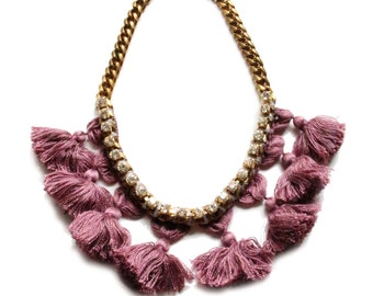 Radiant Orchid Pom Pom w Wrapped Crystal Chain Necklace- Jewelry