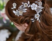 Ivory, White, Flower Hair Crown Silver Gold Crystal Silver Leaves Head Piece Bridal Hair Vine, Tiara, Flower Headband, Hair Clip, STYLE 160