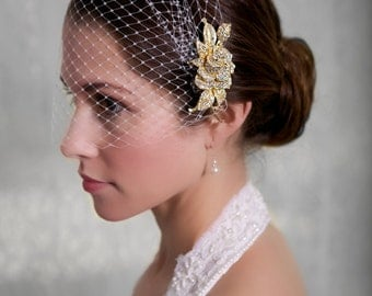 Bridal Veil and Gold Bridal Comb, Bandeau Birdcage Veil, Gold Blusher Bird Cage Veil - QUICK SHIPPER  Gold Crystal Fascinator Comb
