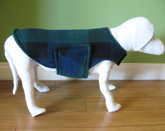 Fleece Dog Coat, Extra Small, Blue, Navy, Black, and Green Buffalo Check Plaid with Black Fleece Lining