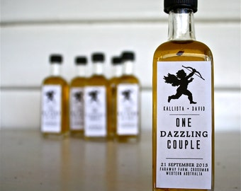 "No.2 - Wedding Gold Oil Bomboniere Favors ""One Dazzling Couple"" 23 Carat Gold Leaf Infused Olive Oil - Favour Ideas, Wedding Oil, Guest Gift"