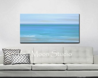 Painting Abstract Art, Abstract Seascape Beach Art Large 48x24, Turquoise Blue, Original Art