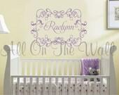 Baby Girl Nursery Wall Decal Monogram Name Vinyl Bedroom Decor