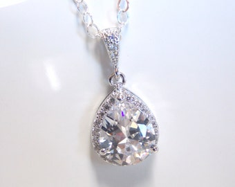 Wedding Necklace, Wedding Jewelry, Bridal Necklace, Bridal Jewelry, Clear, Glass, Cubic Zirconia, Sterling Silver, Crystal, Bridesmaid