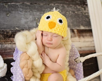 Chick Hat and Diaper Cover Set Newborn Photo Prop Easter Baby Boy Girl Amigurumi Cracked Chicken Egg