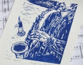 "Saxophone player block print - ""Blue"" hand-pulled sax print, musician art"