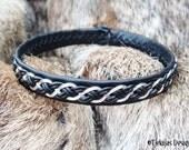 Sterling Silver Braided Sami Bracelet DRAUPNIR Black Lapland Leather Bracelet vegetable tanned Reindeer Leather and Antler Button