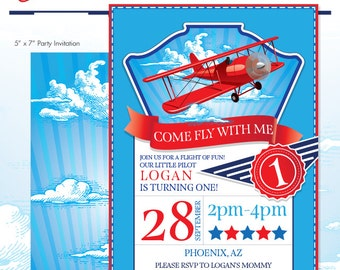 LIttle Aviator Printable Birthday Party Invitation - Red and Blue - DIY Print - Airplane Party - Made to Order