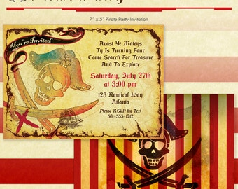 Pirate Party Invitation - Pirate Birthday Invite - DIY Printable - Jolly Roger