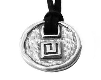 Greek Key Sterling Silver Necklace with Black Leather, Unisex Necklace, Greek Meander Necklace, Greek Statement Necklace, Greek Jewellery