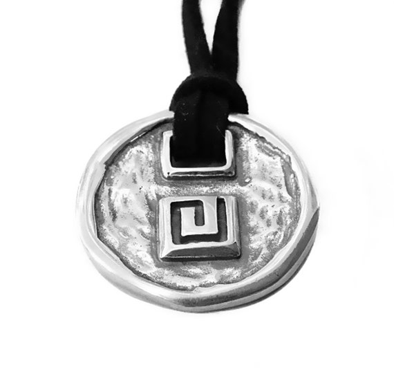 Greek Key Sterling Silver Necklace with Black Leather, Unisex Necklace, Greek Meander Necklace, Greek Statement Necklace, Greek Jewellery