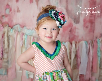 Pink, Navy, Green, Aqua and White OTT Singed Satin Flower, Rolled Rosettes, Lace, Feathers, Ruffles Headband or Hair Clip M2M Matilda Jane