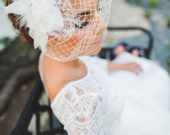Silk Organza Flower Birdcage Veil - White, Ivory Blusher, Birdcage Veil, Hair Accessory, Feather headpiece