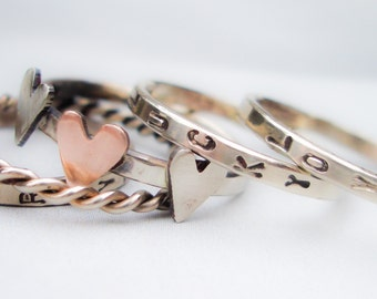 Solid 14K Gold Love is Divine Stacking Bands in 14K White Gold and Rose Gold //  Hand Stamped and Personalized