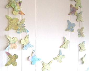 Travel Wedding, Butterfly Garland, 3 inch Butterflies, Map Butterflies, Nature Garland, Butterfly Bedroom, Woodland Wedding, Garland