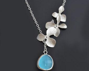 40% SALE, Orchid necklace, Aqua blue necklace, Lariat necklace, Mint necklace, Necklace set, Wedding jewelry, Bridal jewelry, Necklace set