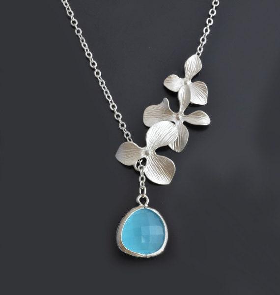 30% SALE, Orchid necklace, Aqua blue necklace, Lariat necklace, Mint necklace, Necklace set, Wedding jewelry, Bridal jewelry, Necklace set