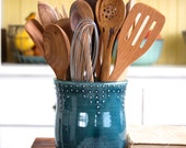 Large Kitchen Utensil Holder - Handmade - 16 Color Choices - Blue, Green, Red, White - Hand Thrown Vase - Modern Home Decor - MADE TO ORDER