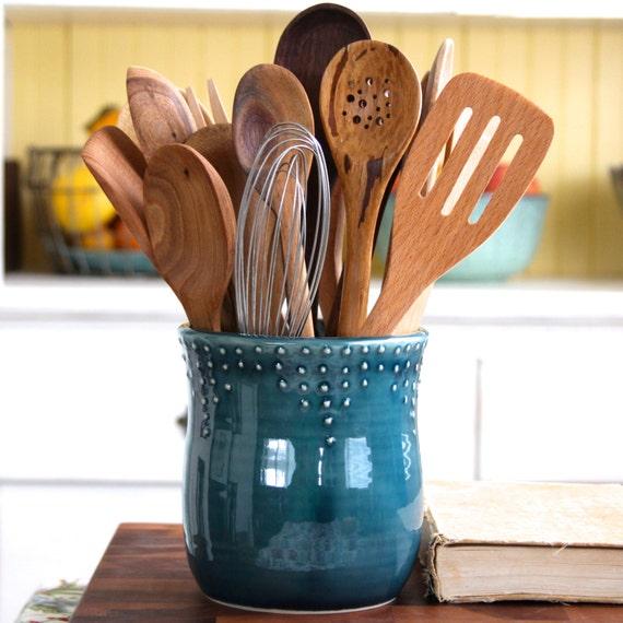 Large kitchen utensil holder handmade 16 color choices - Unique kitchen utensil holder ...