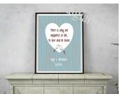 Wedding Gift for Him or Her, Art Print, Anniversary Gift, wedding date print, birds, hearts, wood grain