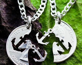 Anchor Necklace, Couples or Best friends jewelry, Relationship set hand cut coin