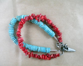 Red Coral & Turquoise Bracelet