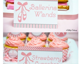 Ballerina Birthday Party Labels, Instant Download, Printable, Food Tags, Place Cards, Party Signs