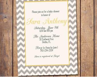 Chevron Baby Shower Invitation gender neutral yellow and grey baby shower Invite digital file (item109g)