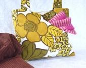 Shoulder bag  vintage fabric 70's flowers M & S handbag tote