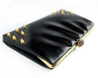 Vintage Rehab Black Spike Clutch Purse