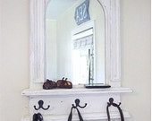 The White Arch Mirror with Shelf & Hooks - Handmade French Architectural design by Arcadian Cottage