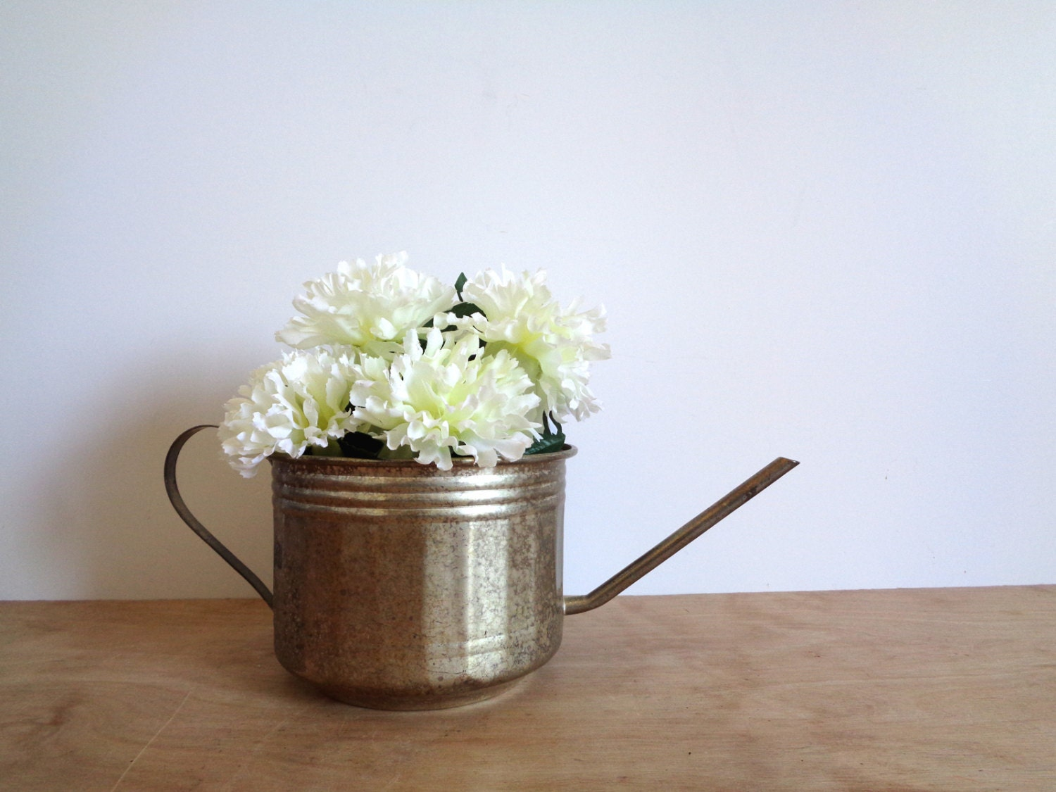 Vintage Silver Plated Watering Can Decorative Planter Vase