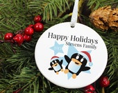 Penguin Party Christmas - Family - Happy Holidays - Personalized Porcelain Ceramic Holiday Ornament - orn25 - Peachwik - Custom Family Names