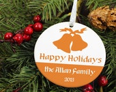 Silver Bells Family Christmas - Happy Holidays - Personalized Porcelain Ceramic Holiday Ornament - orn32 - Peachwik - Custom Colors
