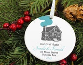 Our First Home Christmas Ornament - Log Cabin House -Custom Color Personalized Porcelain Ceramic Housewarming Holiday Gift- orn256- Peachwik