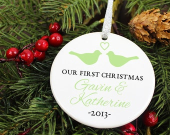 Our First Christmas Ornament - LoveBirds w/ Heart - Personalized Porcelain Couples Holiday Ornament - Engagement Gift - orn148- Custom Color