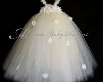 Baby Christening Dress / Baby Confirmation Dress/ Baby Baptism Dress/ Baby Wedding Dress / Flower Girl Dress / Infant Ivory Tutu Dress
