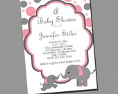 Baby Girl Elephant Shower Invitation PRINTABLE INVITATION Pink and Grey Girl Shower Invitation