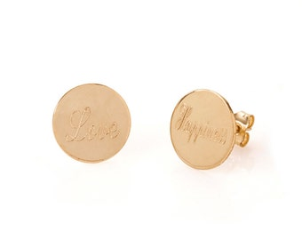 Custom Stud name earrings personalized Round Coin Earrings.  gold name earrings silver name earrings Custom Earrings Stud