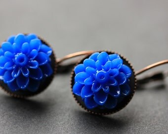 Cobalt Blue Dahlia Flower Earrings. French Hook Earrings. Cobalt Blue Flower Earrings. Lever Back Earrings. Handmade Jewelry.