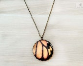 Butterfly Wings Vintage Necklace. Orange Black Butterfly necklace. Monarch butterfly wings photography. Woodland Photography necklace nature