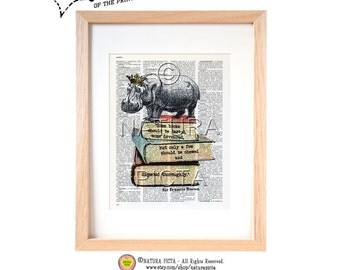 Hippo on books dictionary print-Funny hippo print-Hippo art print-Hippo on book page-Upcycled Vintage Dictionary art- by NATURA PICTA