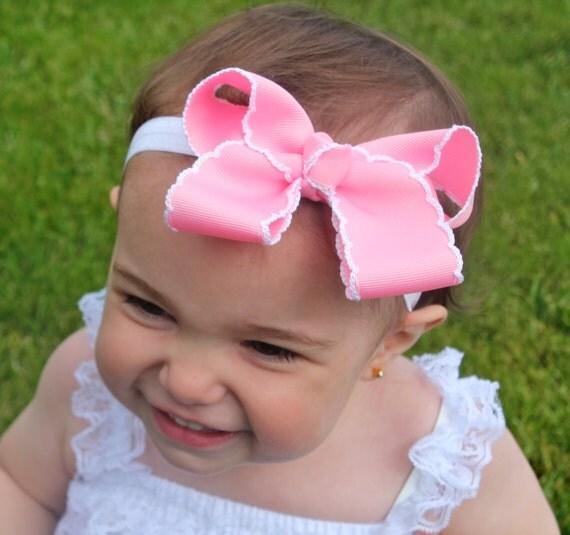 pink baby headband pink hair bow pink and white headband pink baby headband pink hair bow pink and white headband