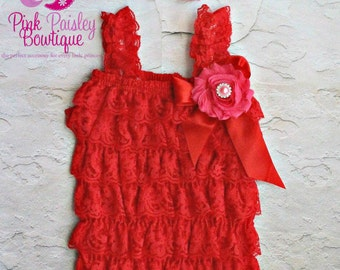Red petti lace romper and headband 3 pc SET, petti romper, cake smash outfit, baby girl 1st birthday outfit, carnival ladybug 1st birthday