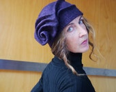 Mauve sculpted hat / barret, felted wool, designer hat, funky hat, eco friendly accessories, eco friendly gift