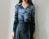 """SALE Vintage 90s """"Marble Mania"""" black and grey blouse / top size S"""