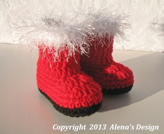 Crochet Baby Santa Booties Pattern : Crochet Pattern 090 Baby Santa Booties 0-3 3-6 6-9 9-12
