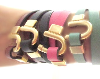 Leather Wrap Bracelets with Gold Hook Clasp. Eye Candy for Your Wrist!